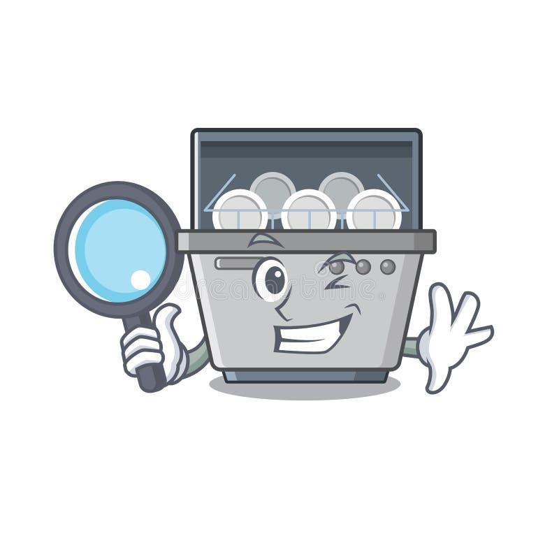 Μηχανή πλυντηρίων πιάτων ιδιωτικών αστυνομικών που απομονώνεται στα κινούμενα σχέδια απεικόνιση αποθεμάτων