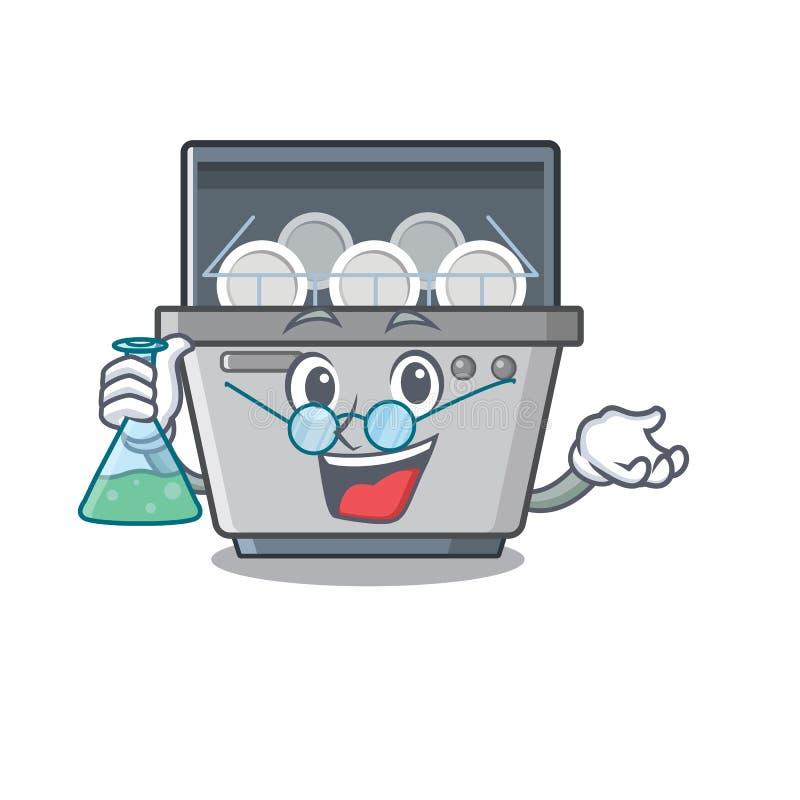 Μηχανή πλυντηρίων πιάτων καθηγητή που απομονώνεται στα κινούμενα σχέδια διανυσματική απεικόνιση