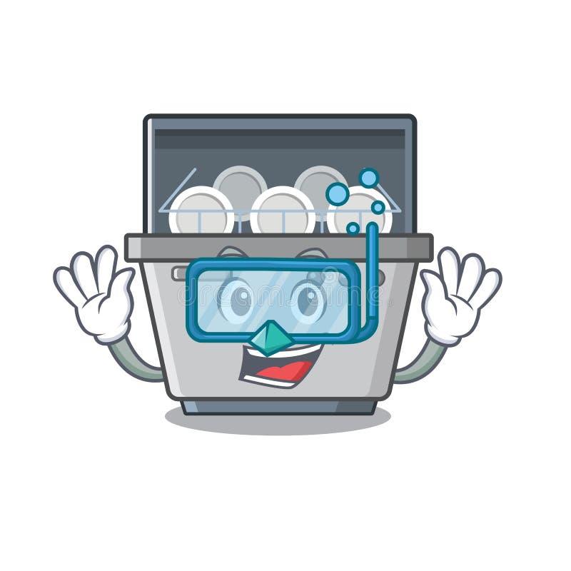 Μηχανή πλυντηρίων πιάτων κατάδυσης που απομονώνεται στα κινούμενα σχέδια απεικόνιση αποθεμάτων