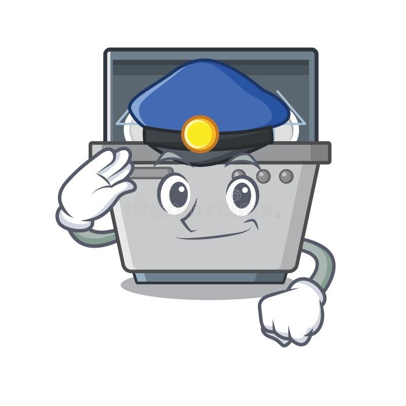 Μηχανή πλυντηρίων πιάτων μασκότ αστυνομίας στην κουζίνα διανυσματική απεικόνιση