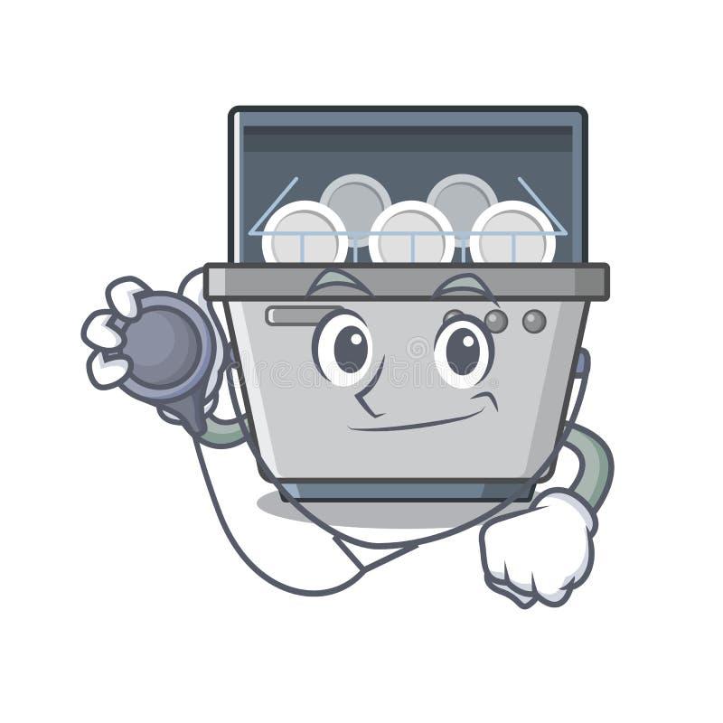 Μηχανή πλυντηρίων πιάτων μασκότ γιατρών στην κουζίνα απεικόνιση αποθεμάτων