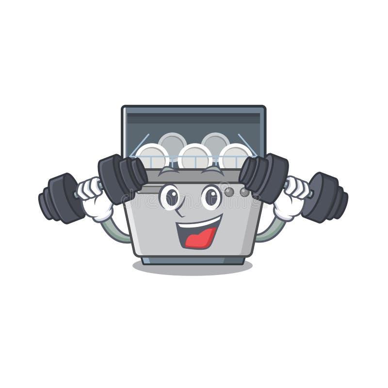 Μηχανή πλυντηρίων πιάτων μασκότ ικανότητας στην κουζίνα ελεύθερη απεικόνιση δικαιώματος