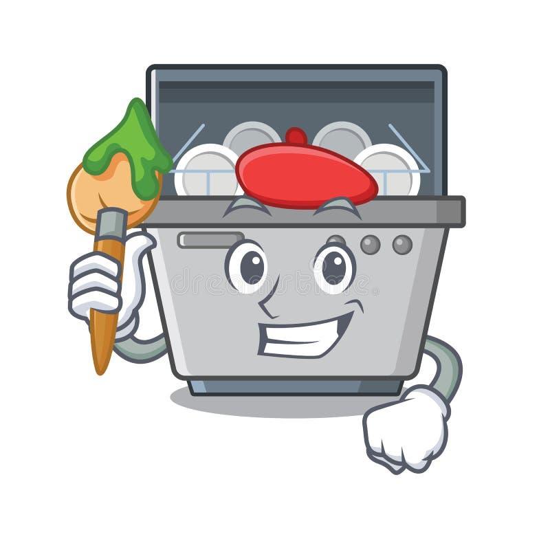 Μηχανή πλυντηρίων πιάτων μασκότ καλλιτεχνών στην κουζίνα απεικόνιση αποθεμάτων