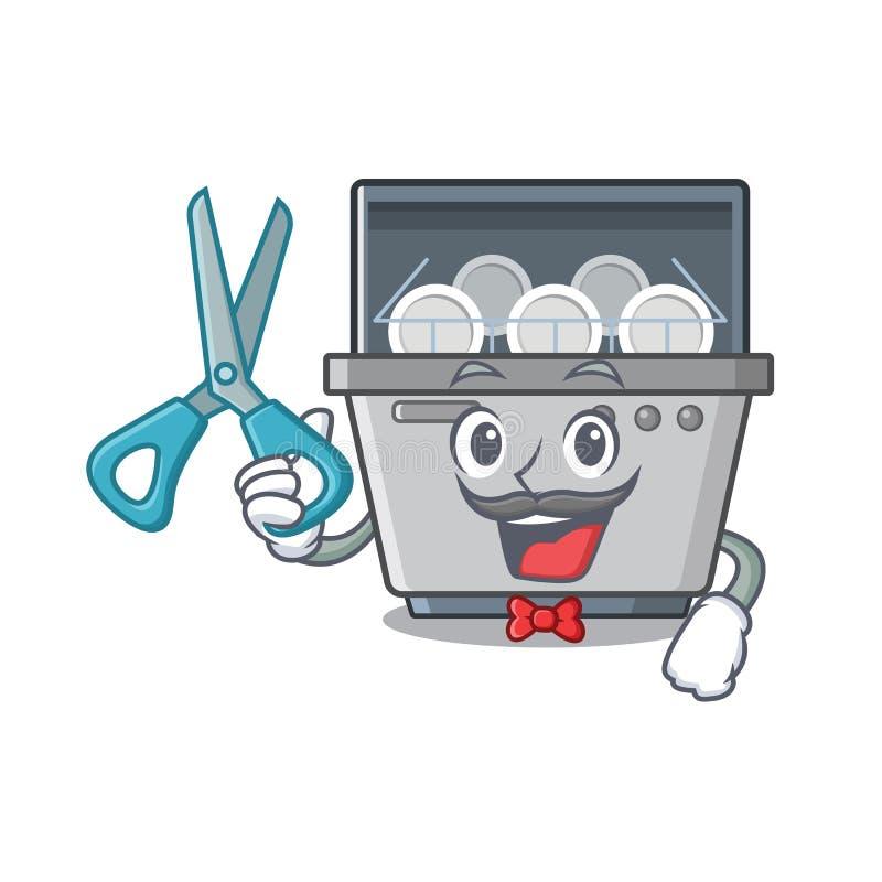 Μηχανή πλυντηρίων πιάτων μασκότ κουρέων στην κουζίνα ελεύθερη απεικόνιση δικαιώματος