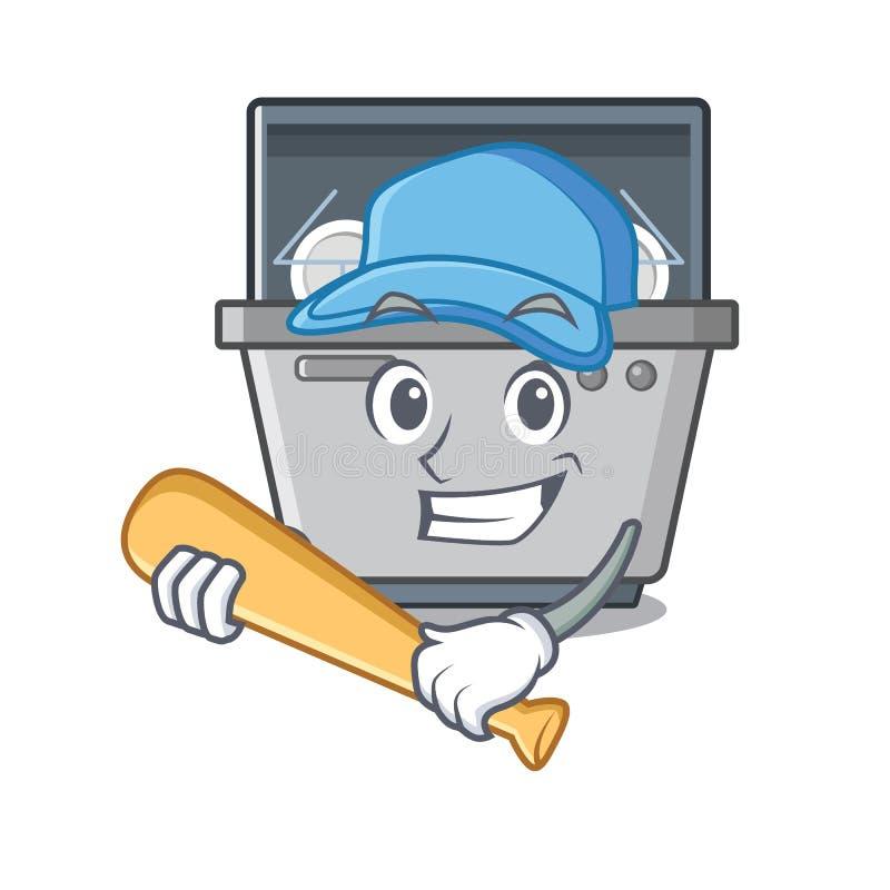 Μηχανή πλυντηρίων πιάτων μασκότ μπέιζ-μπώλ παιχνιδιού στην κουζίνα απεικόνιση αποθεμάτων