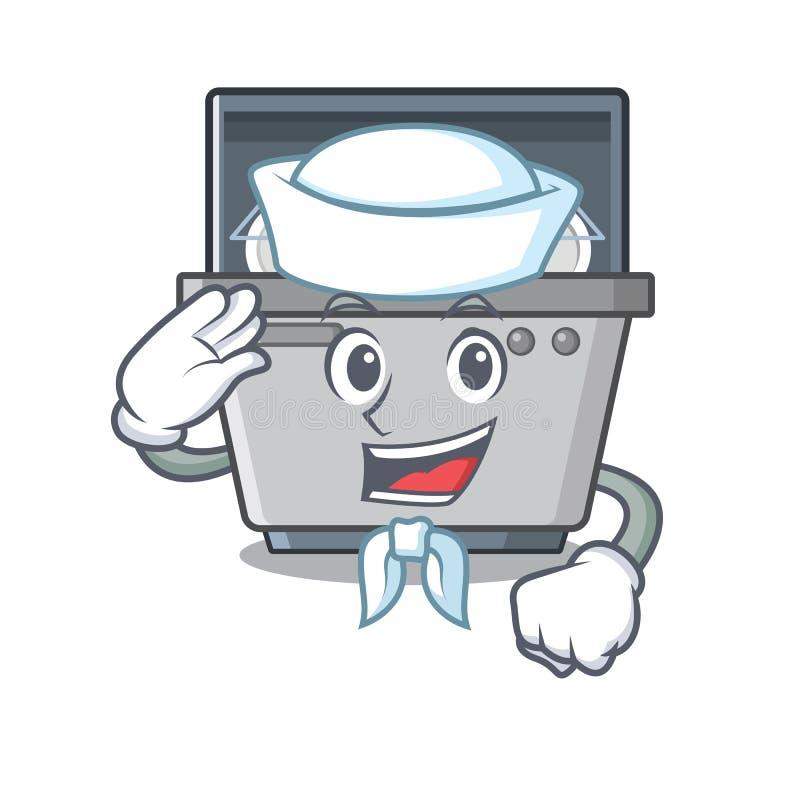 Μηχανή πλυντηρίων πιάτων μασκότ ναυτικών στην κουζίνα ελεύθερη απεικόνιση δικαιώματος