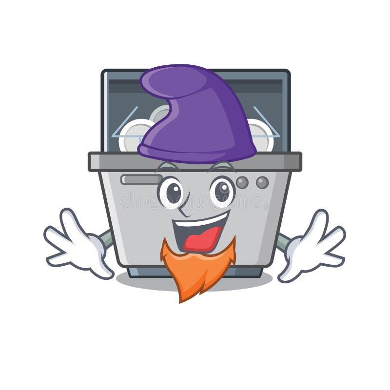Μηχανή πλυντηρίων πιάτων μασκότ νεραιδών στην κουζίνα ελεύθερη απεικόνιση δικαιώματος