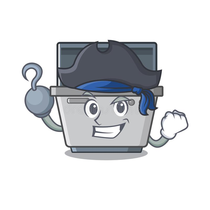 Μηχανή πλυντηρίων πιάτων μασκότ πειρατών στην κουζίνα διανυσματική απεικόνιση
