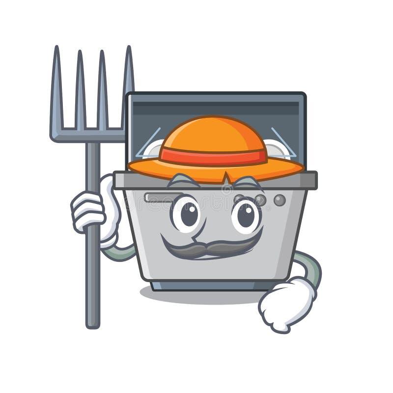 Μηχανή πλυντηρίων πιάτων μασκότ της Farmer στην κουζίνα ελεύθερη απεικόνιση δικαιώματος