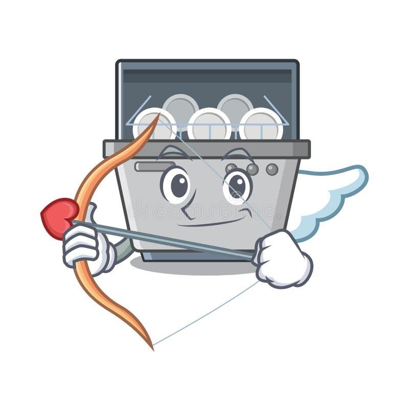 Μηχανή πλυντηρίων πιάτων μασκότ Cupid στην κουζίνα απεικόνιση αποθεμάτων