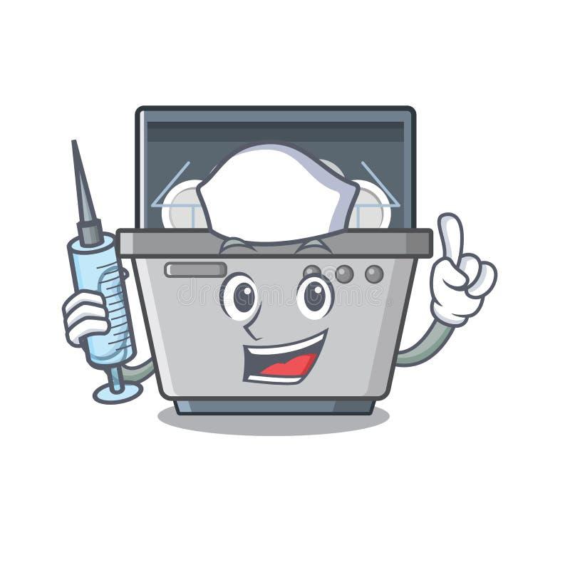 Μηχανή πλυντηρίων πιάτων νοσοκόμων που απομονώνεται στα κινούμενα σχέδια ελεύθερη απεικόνιση δικαιώματος