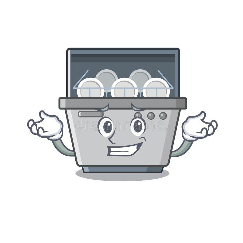 Μηχανή πλυντηρίων πιάτων χαμόγελου που απομονώνεται στα κινούμενα σχέδια διανυσματική απεικόνιση