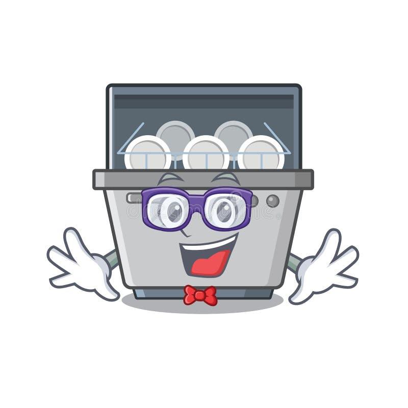 Μηχανή πλυντηρίων πιάτων Geek που απομονώνεται στα κινούμενα σχέδια ελεύθερη απεικόνιση δικαιώματος