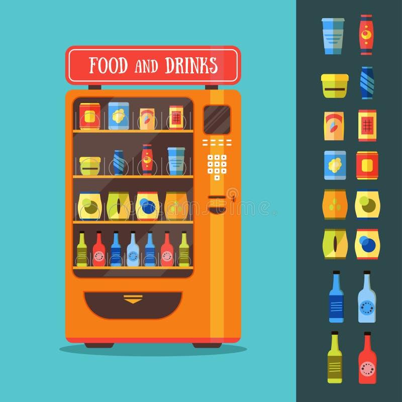 Μηχανή πώλησης με το σύνολο συσκευασίας τροφίμων και ποτών διάνυσμα απεικόνιση αποθεμάτων