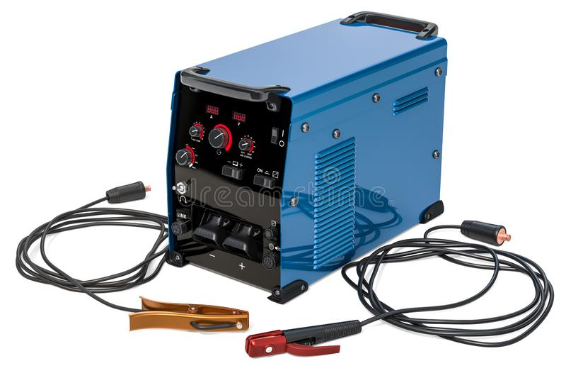 Μηχανή συγκόλλησης με τον κάτοχο ηλεκτροδίων ραβδιών, το καλώδιο εργασίας και το μαλάκιο στοκ εικόνα με δικαίωμα ελεύθερης χρήσης