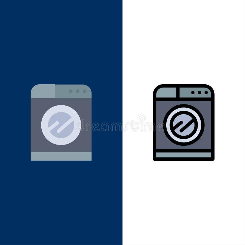 Μηχανή, τεχνολογία, πλύση, εικονίδια πλύσης Επίπεδος και γραμμή γέμισε το καθορισμένο διανυσματικό μπλε υπόβαθρο εικονιδίων διανυσματική απεικόνιση