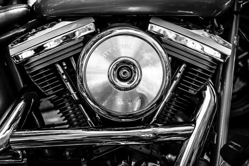 Μηχανή της μοτοσικλέτας Harley-Davidson, κινηματογράφηση σε πρώτο πλάνο στοκ φωτογραφία