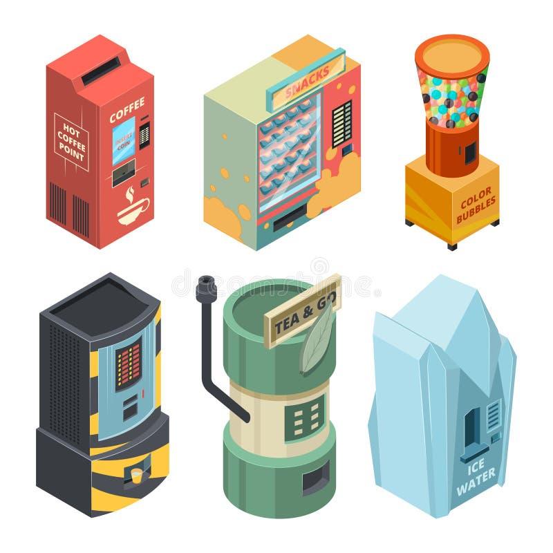 Μηχανή τροφίμων για τα ποτά, τον καφέ και το πρόχειρο φαγητό στις συσκευασίες Διανυσματικές isometric εικόνες απεικόνιση αποθεμάτων