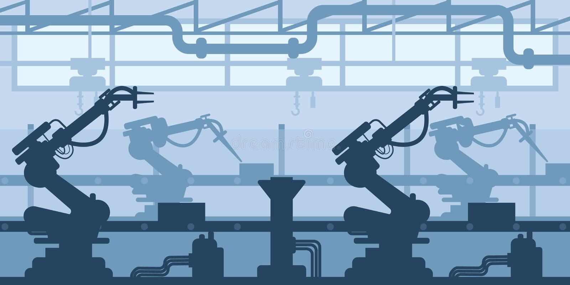 Μηχανή-χτίζοντας εγκαταστάσεις, σκιαγραφία εργοστασίων, εσωτερική της επιχειρηματικής σκηνής, βιομηχανική βιομηχανία ελεύθερη απεικόνιση δικαιώματος