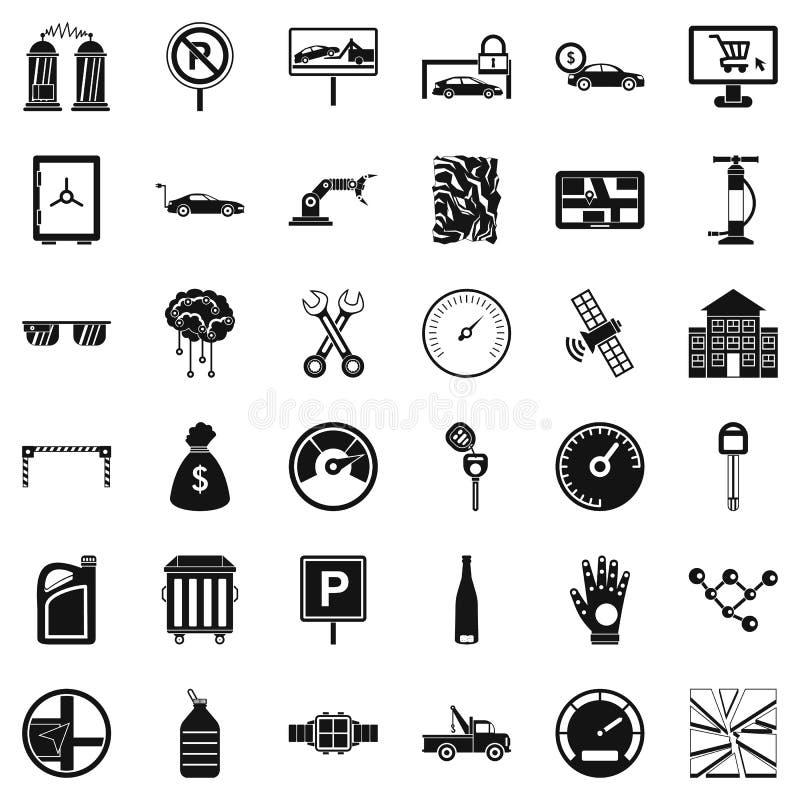 Μηχανικά εικονίδια αυτοκινήτων καθορισμένα, απλό ύφος απεικόνιση αποθεμάτων