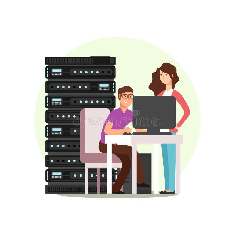 Μηχανικοί χαρακτήρα που εργάζονται με τον κεντρικό υπολογιστή απεικόνιση αποθεμάτων