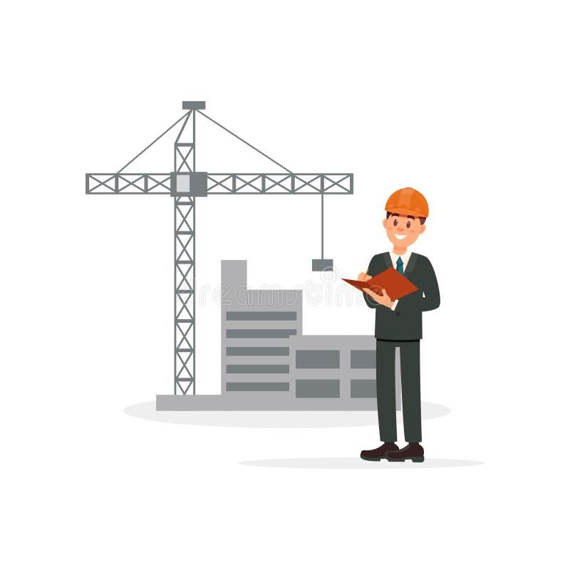 Μηχανικός, αρχιτέκτονας ή επιστάτης στο υπόβαθρο της διανυσματικής απεικόνισης οικοδόμησης κτηρίου σε ένα άσπρο υπόβαθρο διανυσματική απεικόνιση