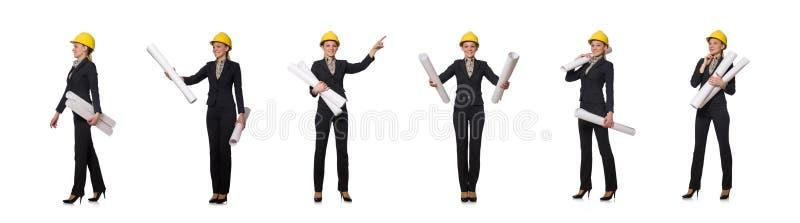 Μηχανικός γυναικών με τα έγγραφα σχεδίων στοκ εικόνες