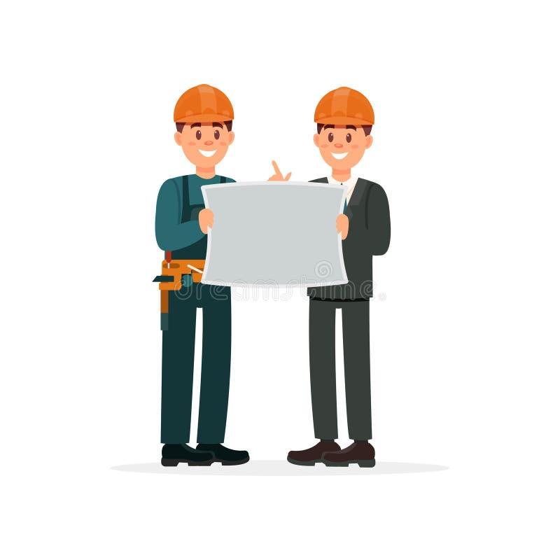 Μηχανικός κατασκευής ή αρχιτέκτονας και επιστάτης hardhats με την αρχιτεκτονική διανυσματική απεικόνιση ν σχεδίων ένα λευκό ελεύθερη απεικόνιση δικαιώματος