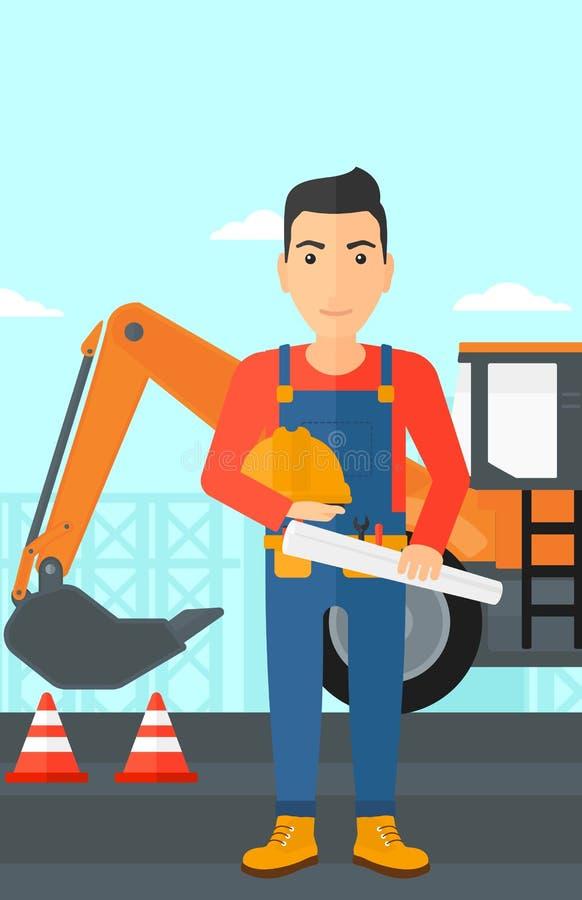 Μηχανικός με το σκληρά καπέλο και το σχεδιάγραμμα διανυσματική απεικόνιση