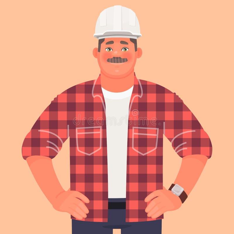 Μηχανικός οικοδόμων επιχειρηματιών στο εργοτάξιο οικοδομής Επιστάτης ή διευθυντής παραγωγής Ένα άτομο σε ένα κράνος διανυσματική απεικόνιση