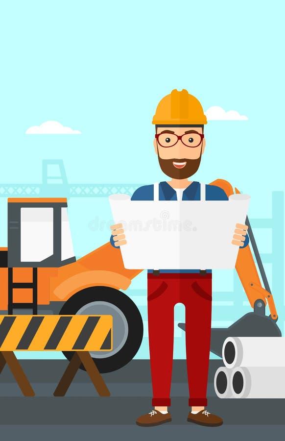 Μηχανικός που κρατά ένα σχεδιάγραμμα απεικόνιση αποθεμάτων