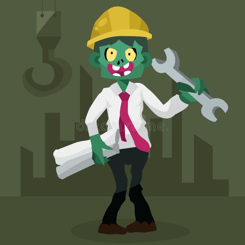 Μηχανικός Zombie, διάνυσμα χαρακτήρα απεικόνισης απεικόνιση αποθεμάτων