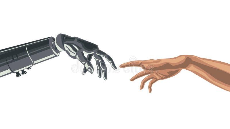 Μηχανικό δάχτυλο ρομπότ σχετικά με ένα δάχτυλο ανθρώπων απεικόνιση αποθεμάτων