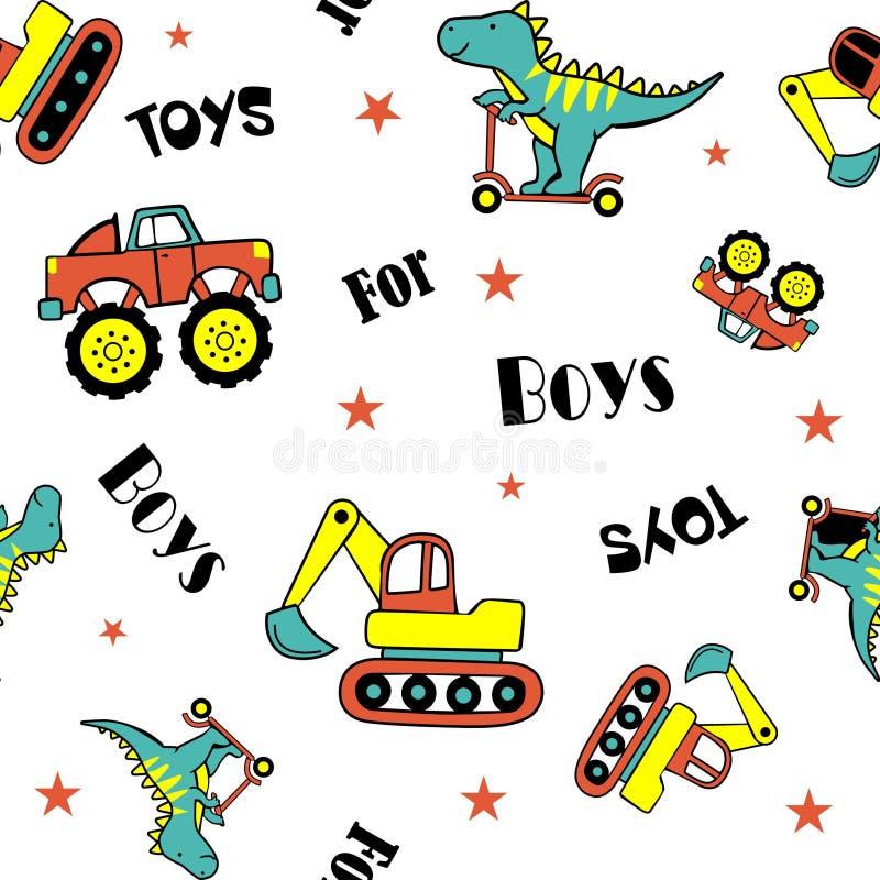Μηχανικό δίκυκλο και αυτοκίνητα παιχνιδιού δεινοσαύρων απεικόνιση αποθεμάτων
