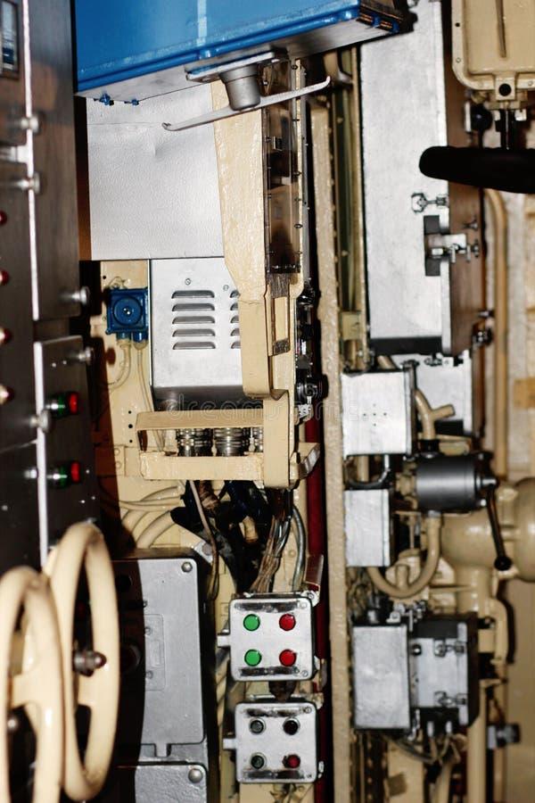 Μηχανικό διαμέρισμα ενός υποβρυχίου στοκ εικόνα