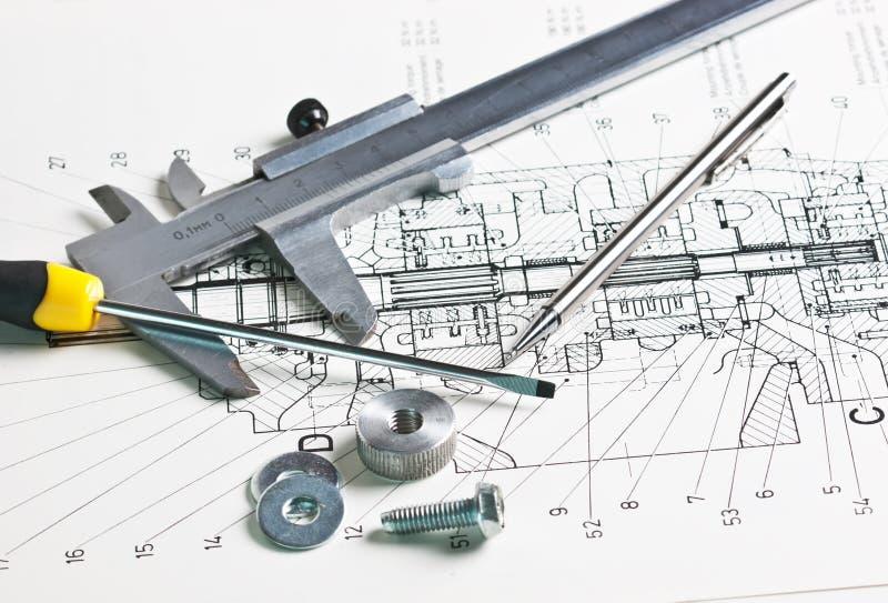 μηχανικό σχέδιο παχυμετρι στοκ εικόνα με δικαίωμα ελεύθερης χρήσης