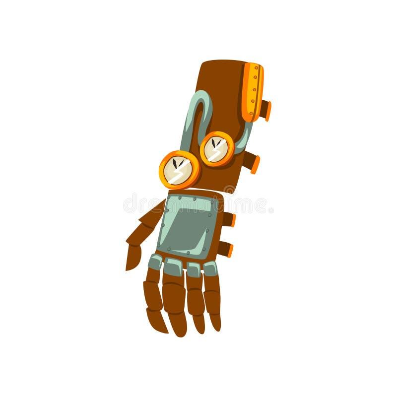 Μηχανικό χέρι Steampunk, παλαιά διανυσματική απεικόνιση συσκευών σε ένα άσπρο υπόβαθρο απεικόνιση αποθεμάτων