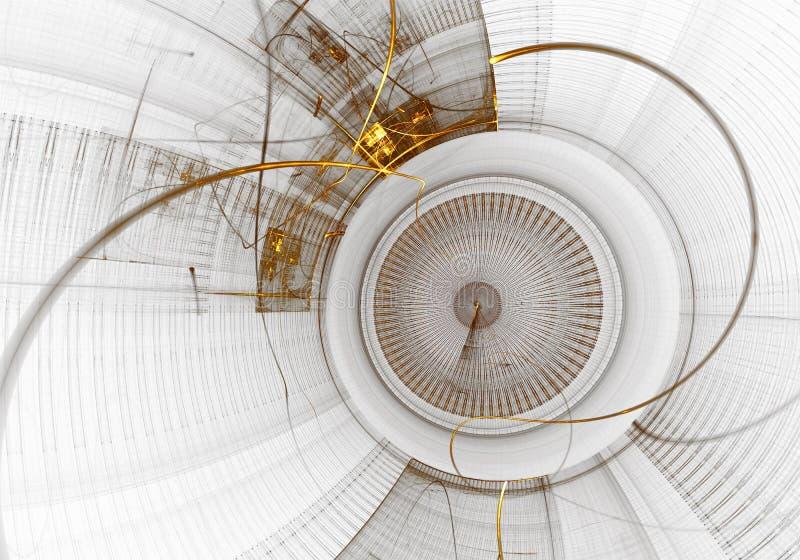 Μηχανισμός, αρχαίο χρυσό Cogwheel στο άσπρο υπόβαθρο απεικόνιση αποθεμάτων