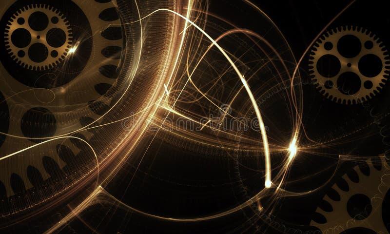 Μηχανισμός, αρχαίο χρυσό Cogwheel στο μαύρο υπόβαθρο διανυσματική απεικόνιση