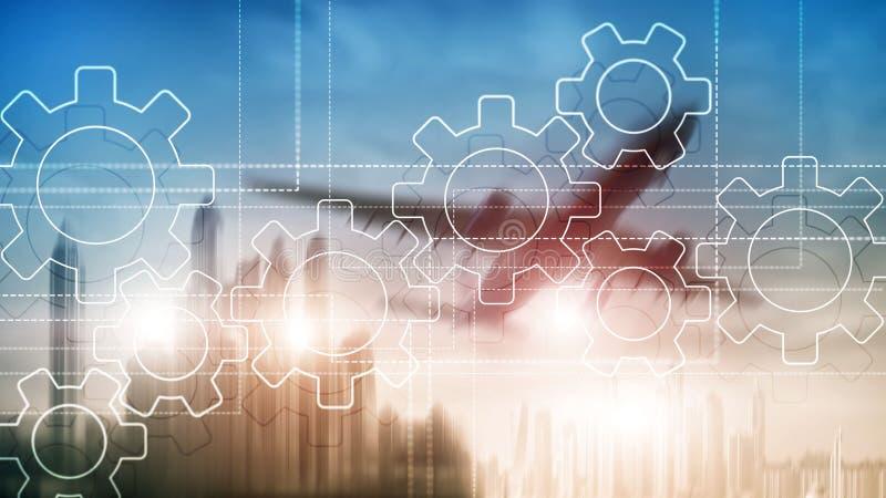 Μηχανισμός εργαλείων, ψηφιακός μετασχηματισμός, ολοκλήρωση στοιχείων και ψηφιακή έννοια τεχνολογίας απεικόνιση αποθεμάτων