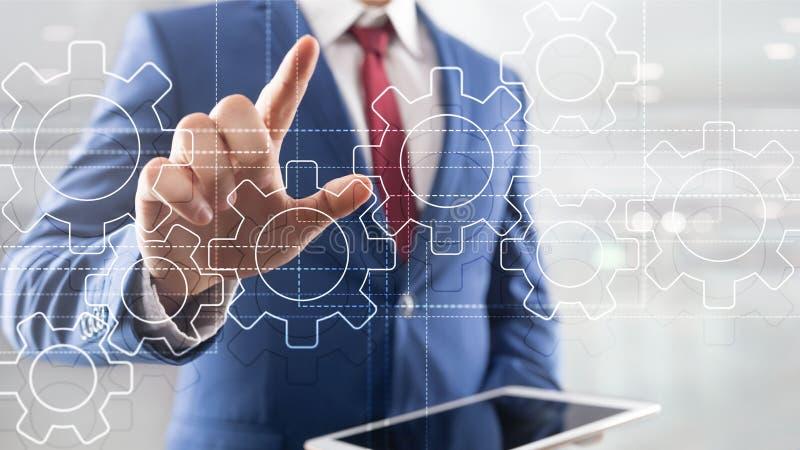 Μηχανισμός εργαλείων, ψηφιακός μετασχηματισμός, ολοκλήρωση στοιχείων και ψηφιακή έννοια τεχνολογίας ελεύθερη απεικόνιση δικαιώματος