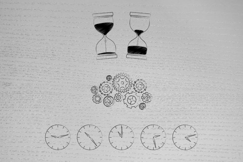 Μηχανισμός κλεψυδρών πριν μετά από και gearwheel επάνω από τη γραμμή ρολογιών με το χρόνο που κοντά στοκ φωτογραφία με δικαίωμα ελεύθερης χρήσης