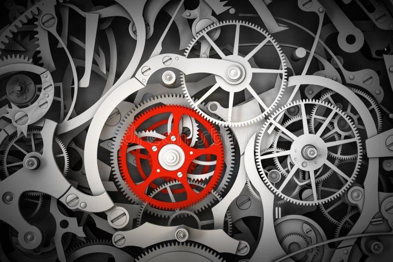 Μηχανισμός, μηχανισμός με ένα διαφορετικό, κόκκινο cogwheel διανυσματική απεικόνιση