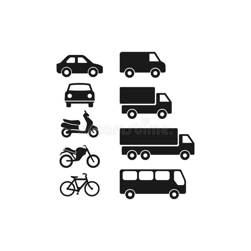 Μηχανοκίνητα οχήματα, αυτοκίνητο, λεωφορείο, επίπεδο διανυσματικό σύνολο εικονιδίων εικονογραμμάτων φορτηγών διανυσματική απεικόνιση