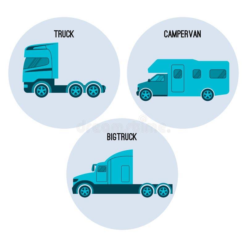 Μηχανοκίνητο όχημα φορτηγών ή φορτηγών Campervan, τροχόσπιτο, caravanette, Bigtruck απεικόνιση αποθεμάτων