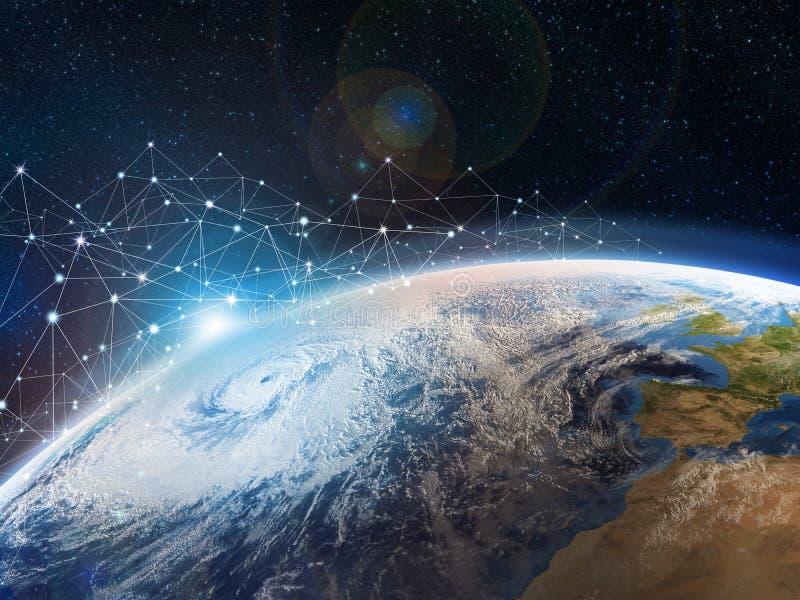 Μια άποψη από το μακρινό διάστημα στη γη Η έννοια της μετάδοσης στοιχείων και της αποθήκευσης στα σύννεφα Το Διαδίκτυο καλύπτει τ διανυσματική απεικόνιση