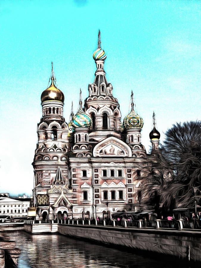Μια άποψη της εκκλησίας του Savior στο αίμα στην Άγιος-Πετρούπολη ελεύθερη απεικόνιση δικαιώματος