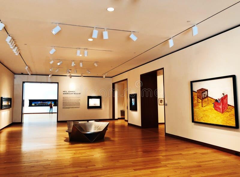 Μια έκθεση τέχνης μέσα στο μουσείο της Νέας Βρετανίας της αμερικανικής τέχνης στοκ φωτογραφία