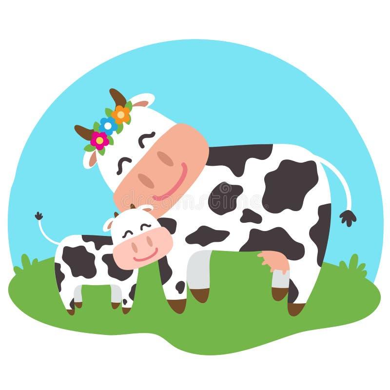 Μια αγελάδα και ο μόσχος της μαζί σε ένα μπλε υπόβαθρο r ελεύθερη απεικόνιση δικαιώματος