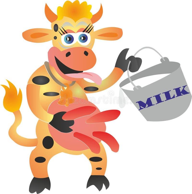 Μια αγελάδα με έναν κάδο του γάλακτος απεικόνιση αποθεμάτων